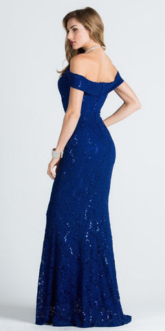 Royal Blue Off Shoulder Fit and Flare Evening Gown Cap Sleeves