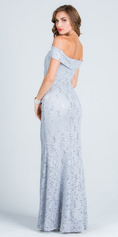 Silver Off Shoulder Fit and Flare Evening Gown Cap Sleeves