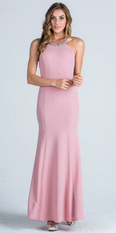 Embellished Neckline Fit and Flare Long Formal Evening Gown Blush
