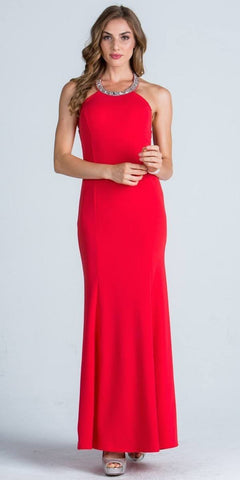 Embellished Neckline Fit and Flare Long Formal Evening Gown Coral