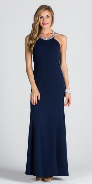 Embellished Neckline Fit and Flare Long Formal Evening Gown Navy