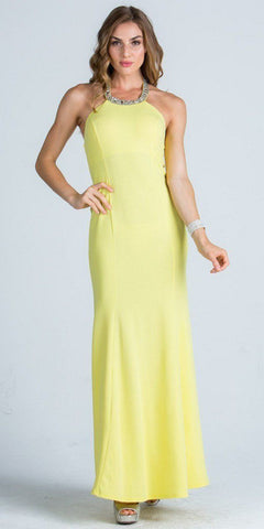 Embellished Neckline Fit and Flare Long Formal Evening Gown Yellow