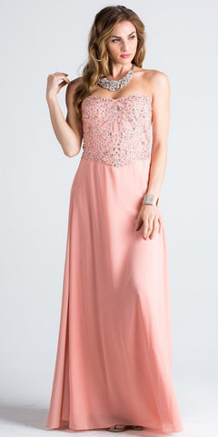 Blush Strapless  A-Line Long Formal Dress Beaded Bodice