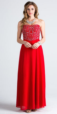 Red Strapless  A-Line Long Formal Dress Beaded Bodice