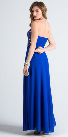 Royal Blue Strapless  A-Line Long Formal Dress Beaded Bodice