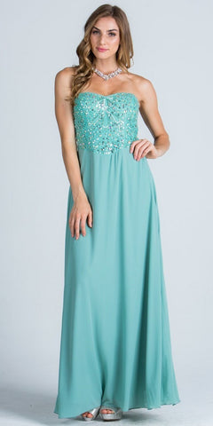 Teal Strapless  A-Line Long Formal Dress Beaded Bodice