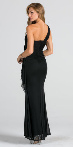 Embellished One Shoulder Long Formal Dress with Drape Black