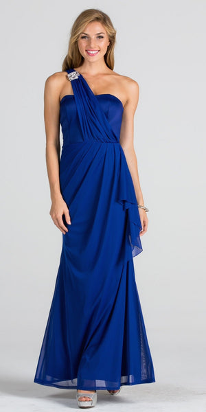 Embellished One Shoulder Long Formal Dress with Drape Royal Blue