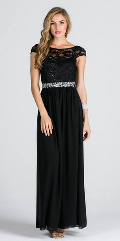 Lace Top Cap Sleeve Long Column Formal Dress Embellished Waist Black
