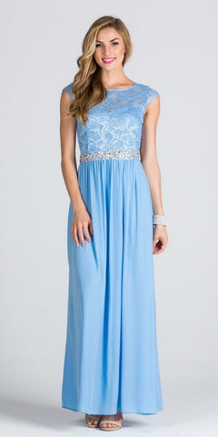Lace Top Cap Sleeve Long Column Formal Dress Embellished Waist Blue