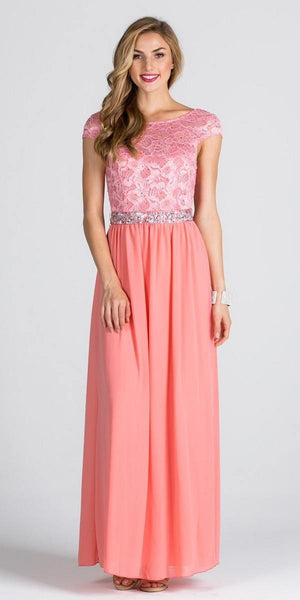 Lace Top Cap Sleeve Long Column Formal Dress Embellished Waist Blush