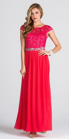 Lace Top Cap Sleeve Long Column Formal Dress Embellished Waist Coral