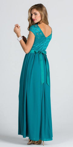 Lace Top Cap Sleeve Long Column Formal Dress Embellished Waist Jade