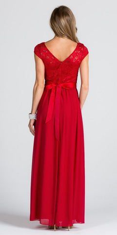 Lace Top Cap Sleeve Long Column Formal Dress Embellished Waist Red