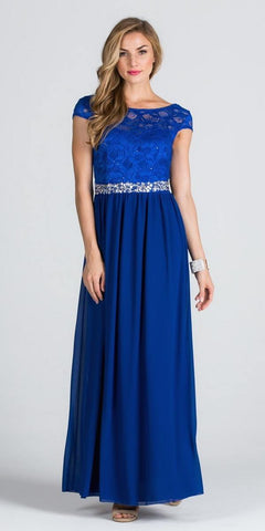 Lace Top Cap Sleeve Long Column Formal Dress Embellished Waist Royal Blue