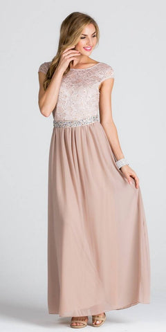 Lace Top Cap Sleeve Long Column Formal Dress Embellished Waist Taupe