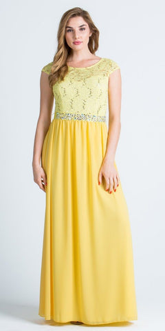 Lace Top Cap Sleeve Long Column Formal Dress Embellished Waist Yellow