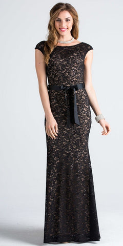 Cap Sleeves Long Formal Dress with Ribbon Sash Belt Black Nude