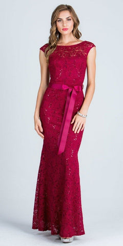 Cap Sleeves Long Formal Dress with Ribbon Sash Belt Burgundy