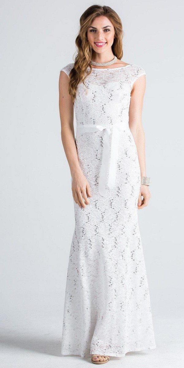 Cap Sleeves Long Formal Dress with Ribbon Sash Belt Off White