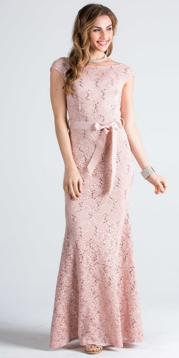 Cap Sleeves Long Formal Dress with Ribbon Sash Belt Taupe