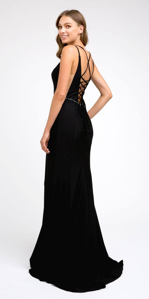 Black Fit and Flare Long Prom Dress with Stylish Back
