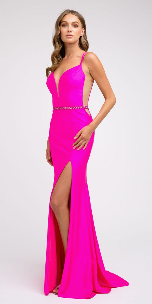 Fuchsia Fit and Flare Long Prom Dress with Stylish Back