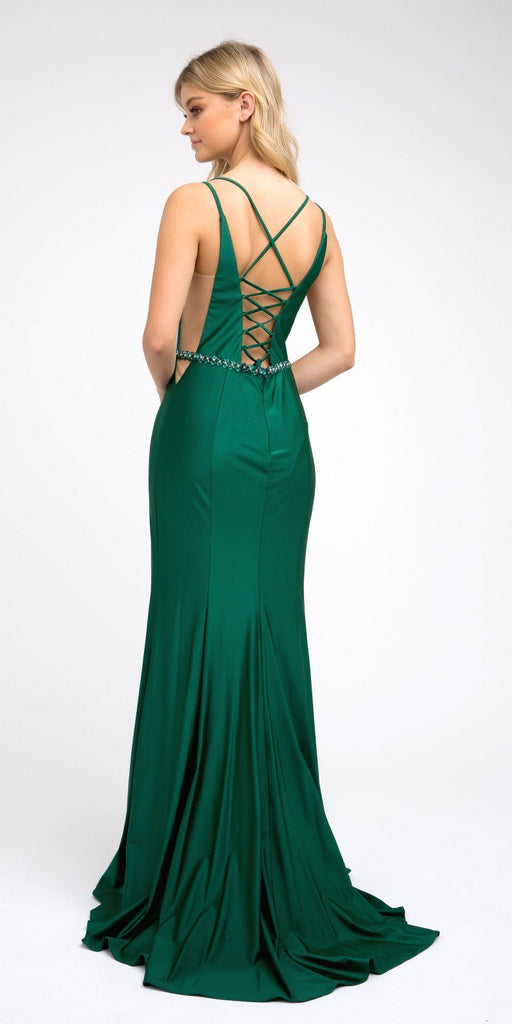 Green Fit and Flare Long Prom Dress with Stylish Back