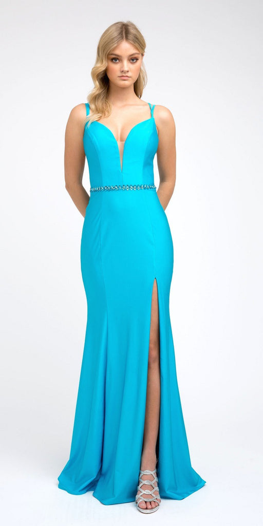 Turquoise Fit and Flare Long Prom Dress with Stylish Back