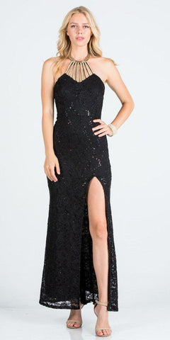 Black Halter Evening Gown Fit and Flare with Slit
