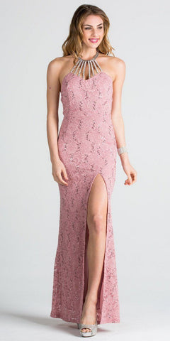 Mauve Halter Evening Gown Fit and Flare with Slit