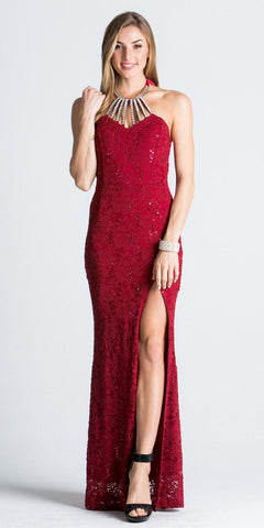 Burgundy Halter Evening Gown Fit and Flare with Slit