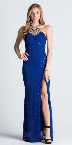 Royal Blue Halter Evening Gown Fit and Flare with Slit