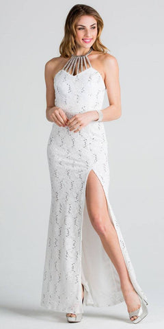 White Halter Evening Gown Fit and Flare with Slit