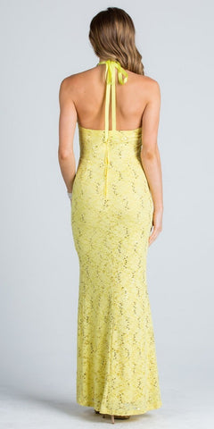 Yellow Halter Evening Gown Fit and Flare with Slit