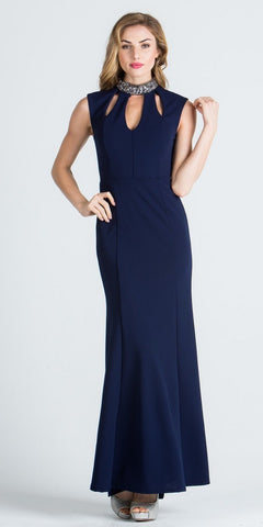 Navy Blue High Embellished High Neckline Fit and Flare Evening Gown