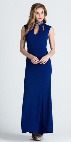Royal Blue High Embellished High Neckline Fit and Flare Evening Gown