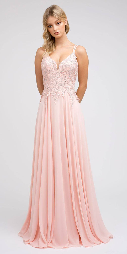 Appliqued Long Prom Dress with Lace-Up Back Blush