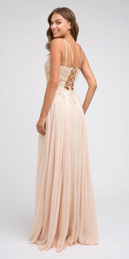 Appliqued Long Prom Dress with Lace-Up Back Champagne