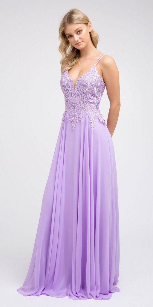 Appliqued Long Prom Dress with Lace-Up Back Lilac