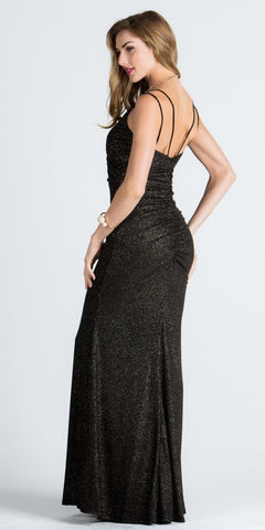 Spaghetti Strap Glitter Long Column Long Formal Dress V-Neck Black