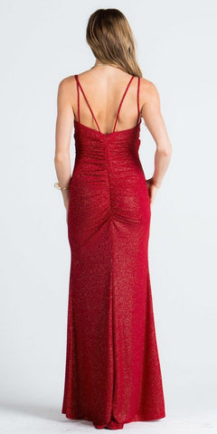 Spaghetti Strap Glitter Long Column Long Formal Dress V-Neck Red