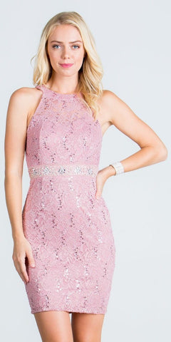 Keyhole Back Blush Lace Fitted Cocktail Dress Rhinestone Waist