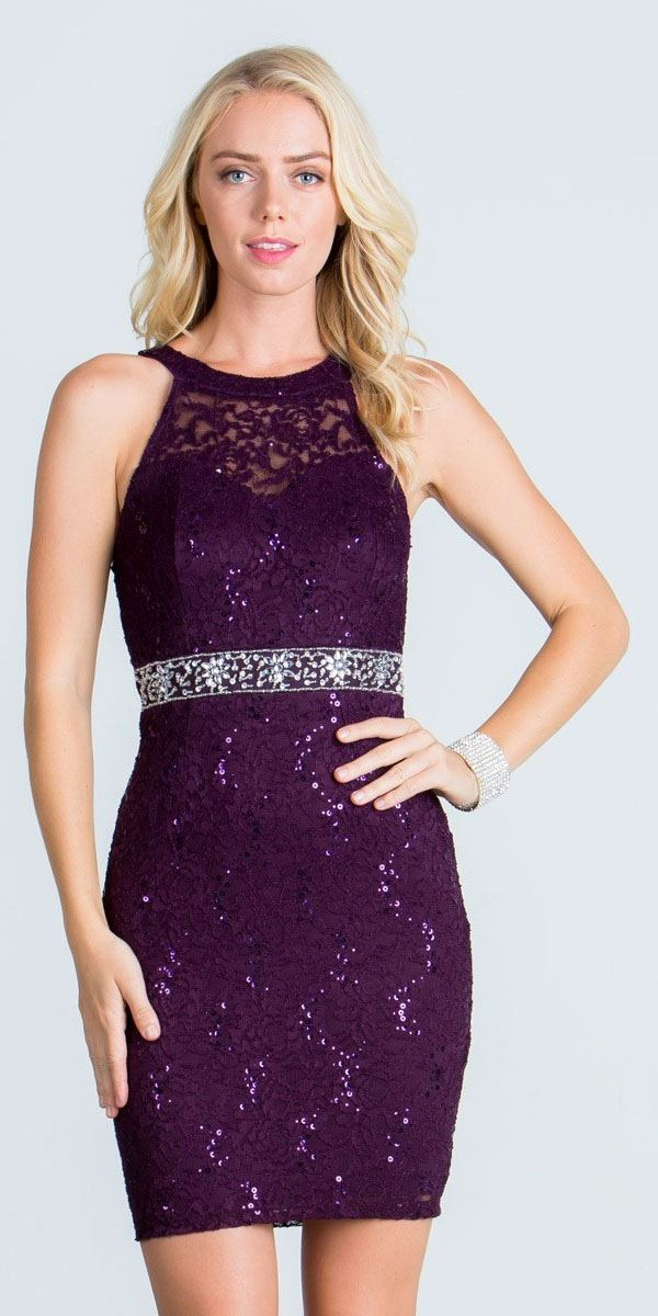 4c14a437eac Keyhole Back Eggplant Lace Fitted Cocktail Dress Rhinestone Waist ...