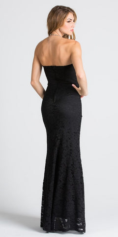 Strapless Fit and Flare Long Formal Dress Embellished Waist Black