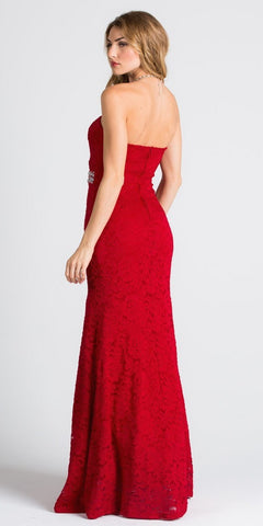 Strapless Fit and Flare Long Formal Dress Embellished Waist Red