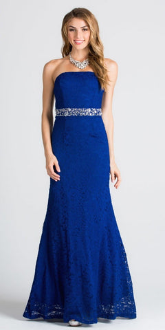 Strapless Fit and Flare Long Formal Dress Embellished Waist Royal Blue
