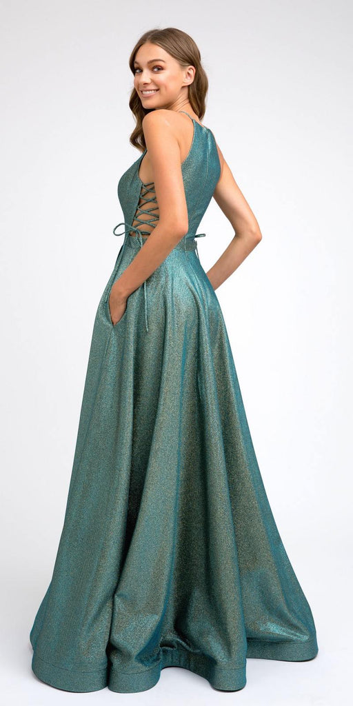 Side Lace-Up Long Metallic Peacock Prom Dress