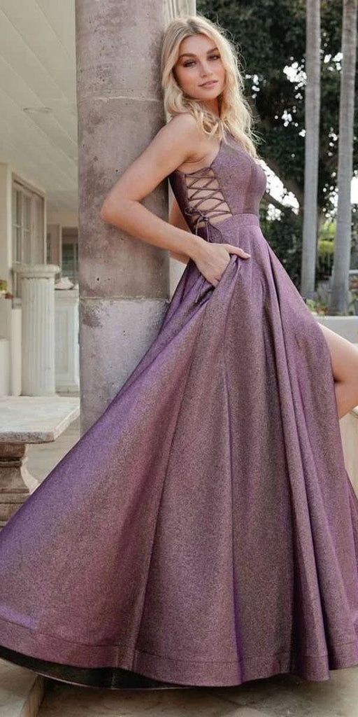 Side Lace-Up Long Metallic Purple Prom Dress