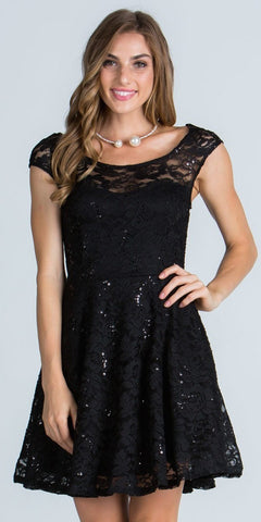 Lace Cap Sleeves Short Cocktail Dress Boat Neckline Black